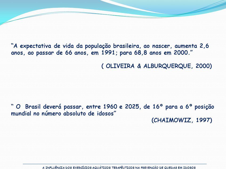 """""""A expectativa de vida da população brasileira, ao nascer, aumenta 2,6 anos, ao passar de 66 anos, em 1991; para 68,8 anos em 2000."""" ( OLIVEIRA & ALBU"""
