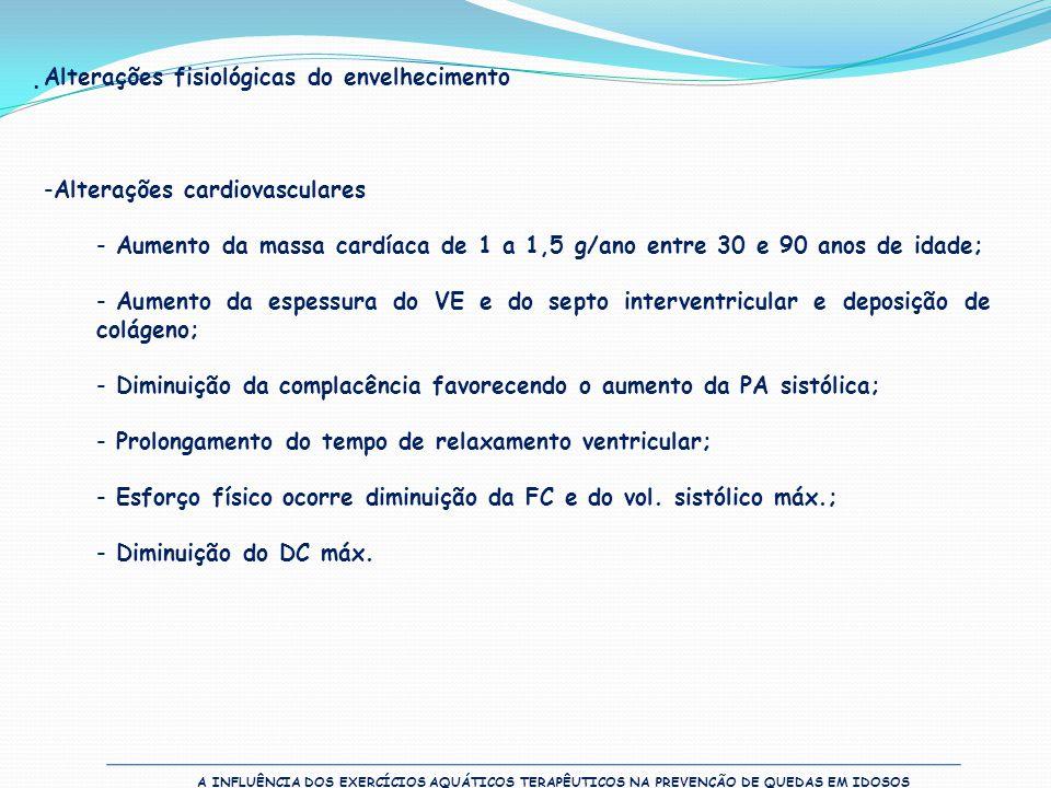 A INFLUÊNCIA DOS EXERCÍCIOS AQUÁTICOS TERAPÊUTICOS NA PREVENÇÃO DE QUEDAS EM IDOSOS  Alterações fisiológicas do envelhecimento -Alterações cardiovasc