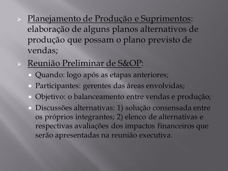  Planejamento de Produção e Suprimentos: elaboração de alguns planos alternativos de produção que possam o plano previsto de vendas;  Reunião Prelim