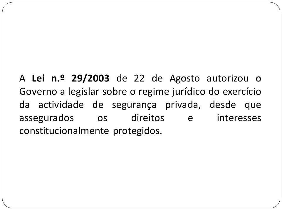 A Lei n.º 29/2003 de 22 de Agosto autorizou o Governo a legislar sobre o regime jurídico do exercício da actividade de segurança privada, desde que as
