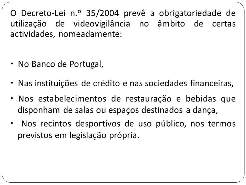 O Decreto-Lei n.º 35/2004 prevê a obrigatoriedade de utilização de videovigilância no âmbito de certas actividades, nomeadamente:  No Banco de Portug