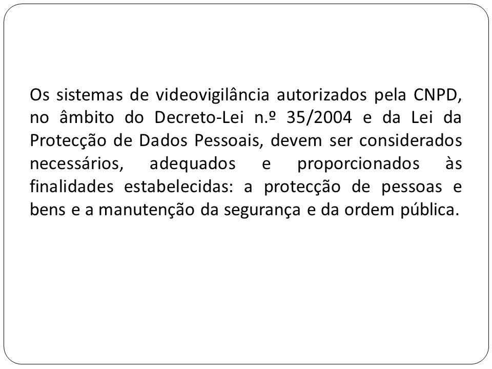 Os sistemas de videovigilância autorizados pela CNPD, no âmbito do Decreto-Lei n.º 35/2004 e da Lei da Protecção de Dados Pessoais, devem ser consider