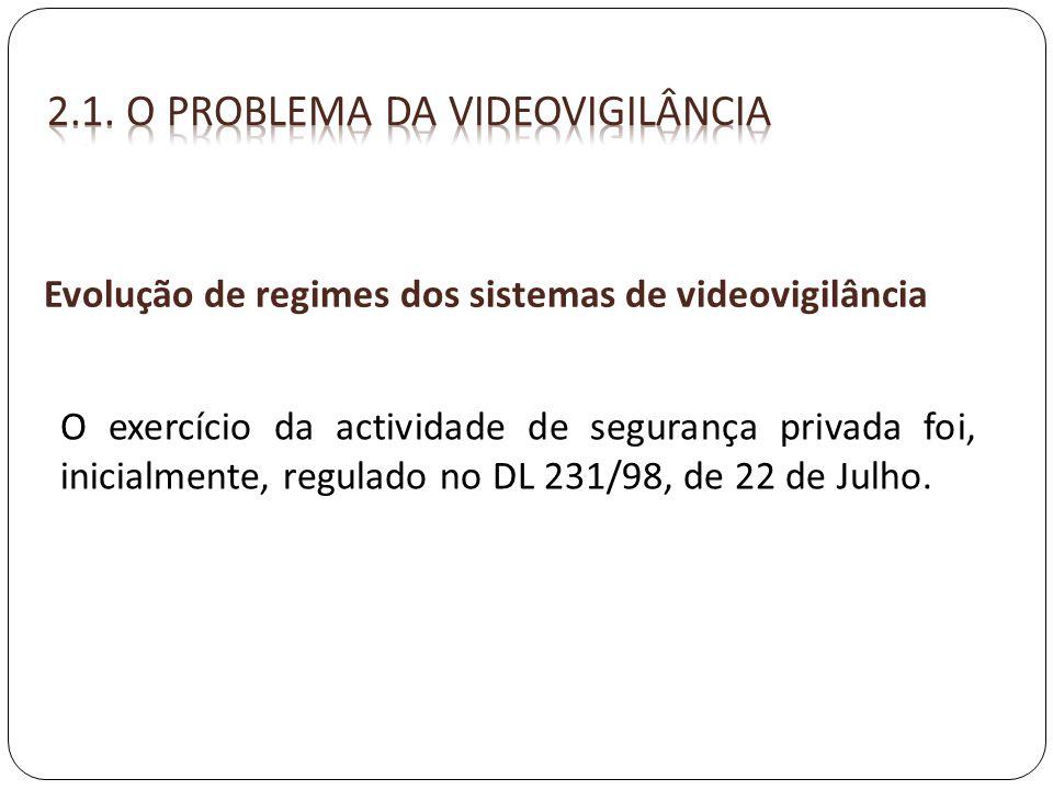 Evolução de regimes dos sistemas de videovigilância O exercício da actividade de segurança privada foi, inicialmente, regulado no DL 231/98, de 22 de