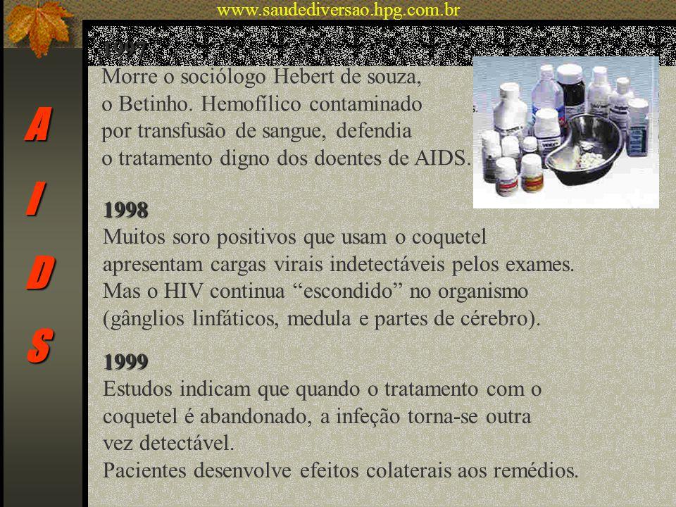 AIDS 1997 Morre o sociólogo Hebert de souza, o Betinho. Hemofílico contaminado por transfusão de sangue, defendia o tratamento digno dos doentes de AI