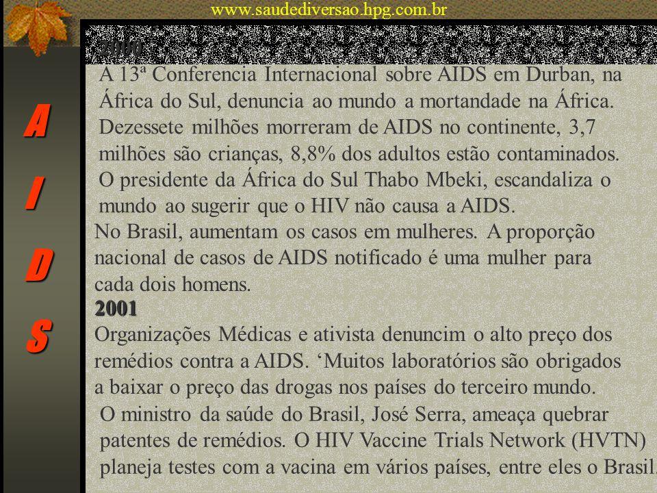 AIDS 2000 A 13ª Conferencia Internacional sobre AIDS em Durban, na África do Sul, denuncia ao mundo a mortandade na África. Dezessete milhões morreram