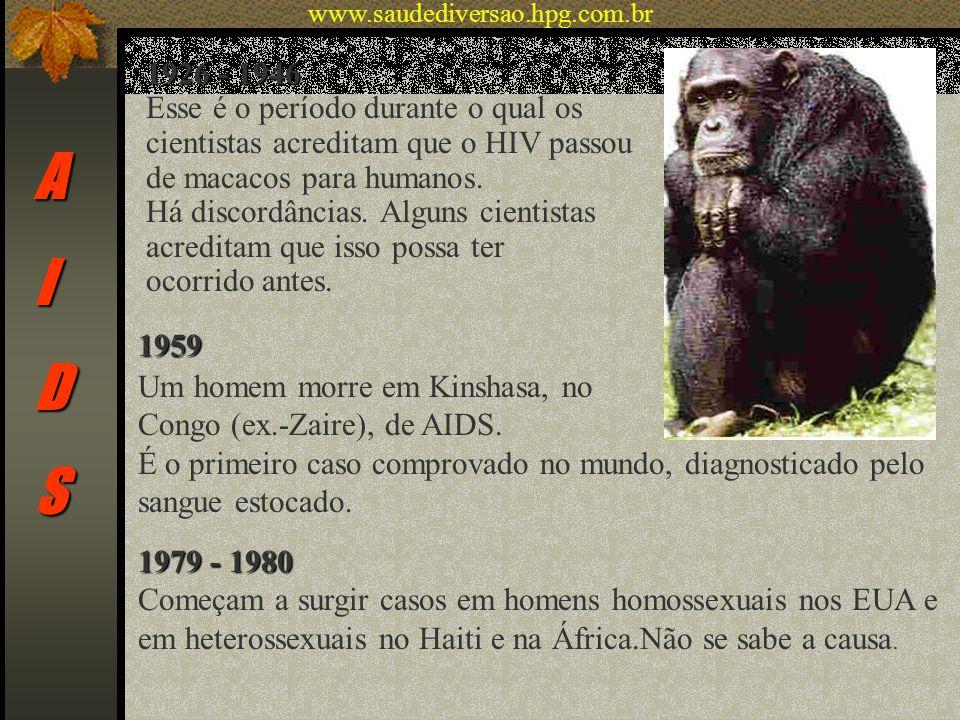 AIDS 1926 - 1946 Esse é o período durante o qual os cientistas acreditam que o HIV passou de macacos para humanos. Há discordâncias. Alguns cientistas