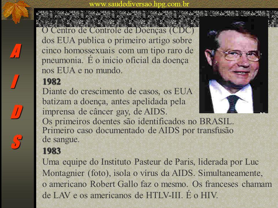 AIDS 1981 O Centro de Controle de Doenças (CDC) dos EUA publica o primeiro artigo sobre cinco homossexuais com um tipo raro de pneumonia. É o inicio o