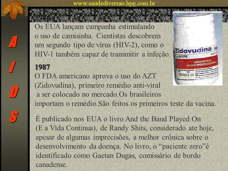 AIDS 1986 Os EUA lançam campanha estimulando o uso de camisinha. Cientistas descobrem um segundo tipo de vírus (HIV-2), como o HIV-1 também capaz de t