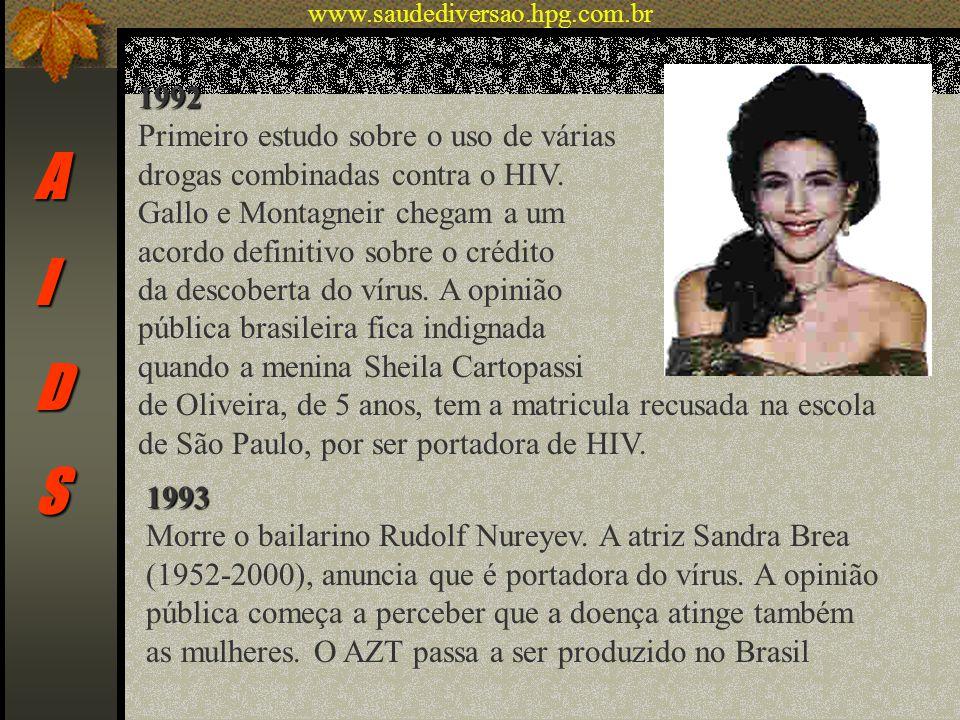 AIDS 1992 Primeiro estudo sobre o uso de várias drogas combinadas contra o HIV. Gallo e Montagneir chegam a um acordo definitivo sobre o crédito da de
