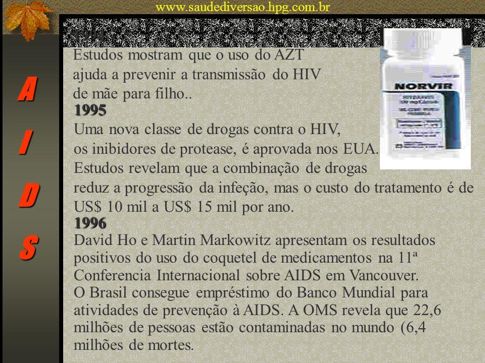 AIDS 1994 Estudos mostram que o uso do AZT ajuda a prevenir a transmissão do HIV de mãe para filho.. 1995 Uma nova classe de drogas contra o HIV, os i