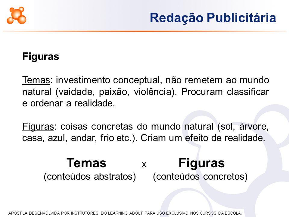 APOSTILA DESENVOLVIDA POR INSTRUTORES DO LEARNING ABOUT PARA USO EXCLUSIVO NOS CURSOS DA ESCOLA. Redação Publicitária Figuras Temas: investimento conc