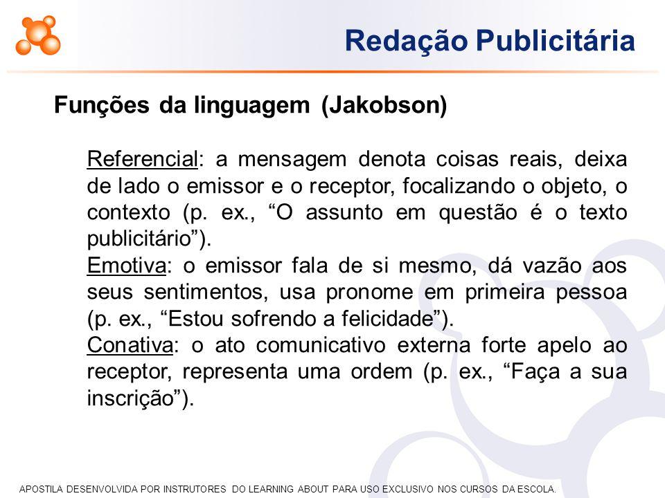 APOSTILA DESENVOLVIDA POR INSTRUTORES DO LEARNING ABOUT PARA USO EXCLUSIVO NOS CURSOS DA ESCOLA. Redação Publicitária Funções da linguagem (Jakobson)