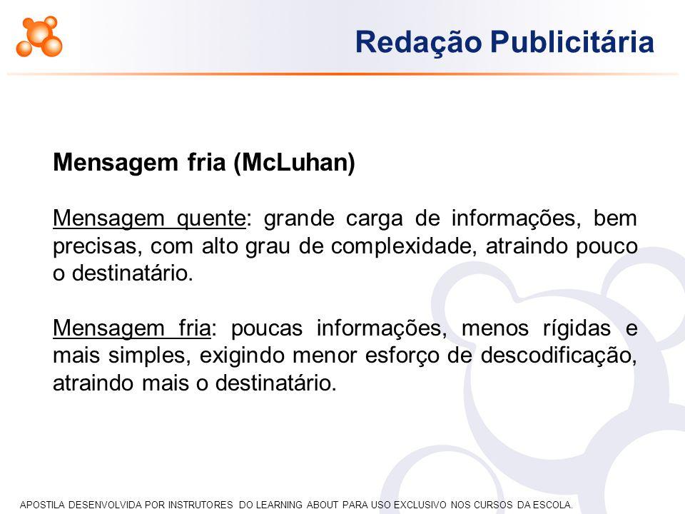 APOSTILA DESENVOLVIDA POR INSTRUTORES DO LEARNING ABOUT PARA USO EXCLUSIVO NOS CURSOS DA ESCOLA. Redação Publicitária Mensagem fria (McLuhan) Mensagem