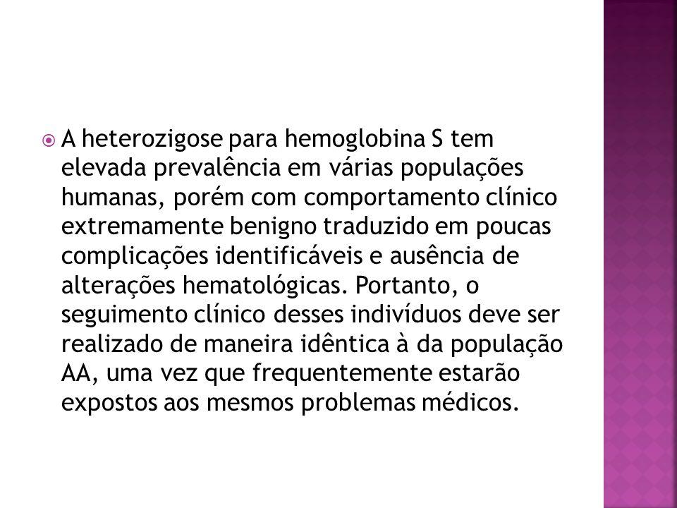  A heterozigose para hemoglobina S tem elevada prevalência em várias populações humanas, porém com comportamento clínico extremamente benigno traduzi