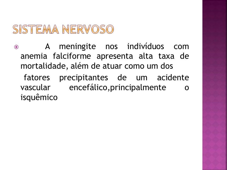  A meningite nos indivíduos com anemia falciforme apresenta alta taxa de mortalidade, além de atuar como um dos fatores precipitantes de um acidente vascular encefálico,principalmente o isquêmico