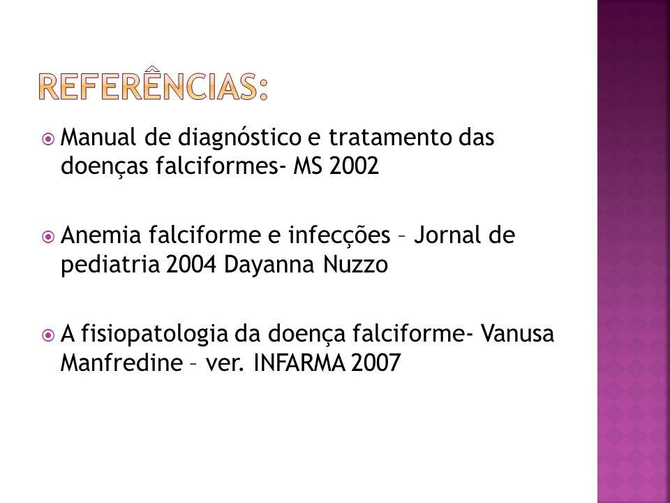  Manual de diagnóstico e tratamento das doenças falciformes- MS 2002  Anemia falciforme e infecções – Jornal de pediatria 2004 Dayanna Nuzzo  A fis