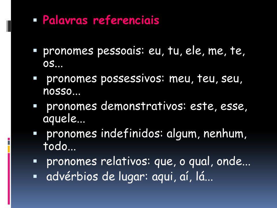  Palavras referenciais  pronomes pessoais: eu, tu, ele, me, te, os...  pronomes possessivos: meu, teu, seu, nosso...  pronomes demonstrativos: est