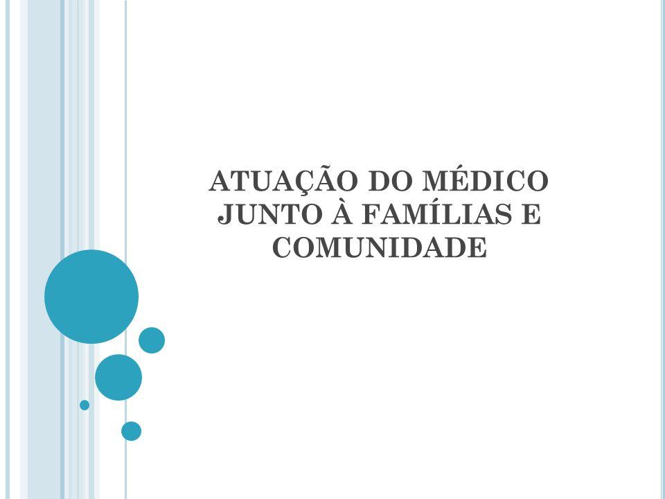 ATUAÇÃO DO MÉDICO JUNTO À FAMÍLIAS E COMUNIDADE