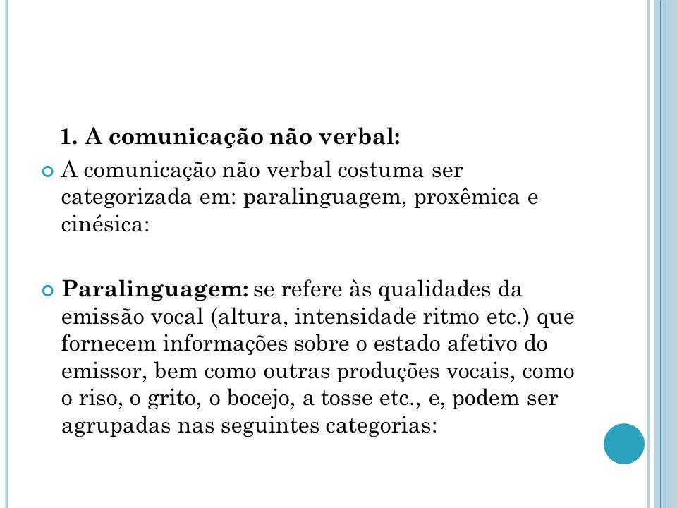 1. A comunicação não verbal: A comunicação não verbal costuma ser categorizada em: paralinguagem, proxêmica e cinésica: Paralinguagem: se refere às qu