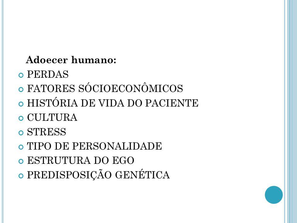 Adoecer humano: PERDAS FATORES SÓCIOECONÔMICOS HISTÓRIA DE VIDA DO PACIENTE CULTURA STRESS TIPO DE PERSONALIDADE ESTRUTURA DO EGO PREDISPOSIÇÃO GENÉTI
