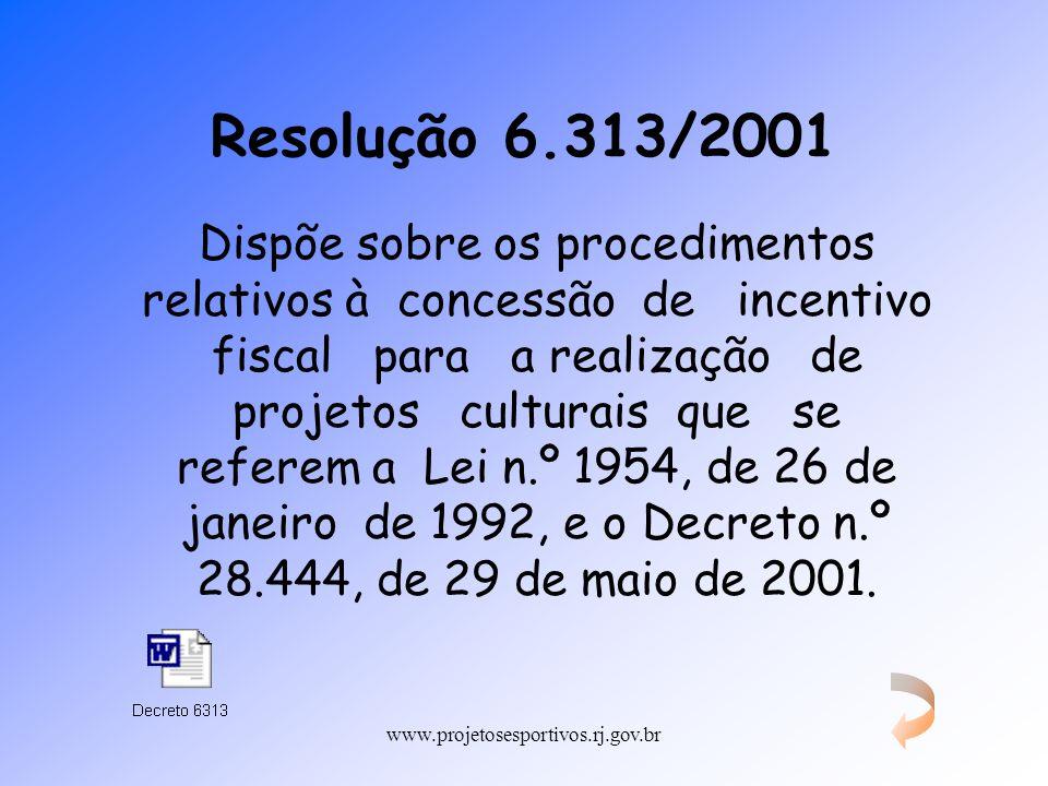 www.projetosesportivos.rj.gov.br Resolução 6.313/2001 Dispõe sobre os procedimentos relativos à concessão de incentivo fiscal para a realização de pro