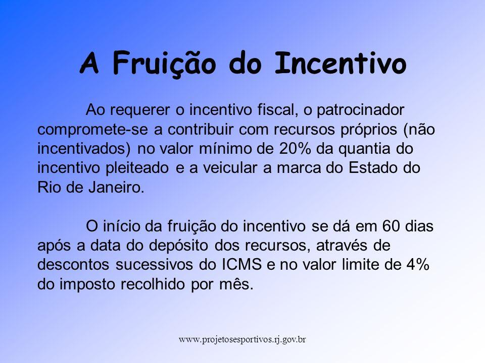 www.projetosesportivos.rj.gov.br Em um projeto de 270.000,00 Recursos Próprios (20% do Incentivo): 45.000,00 Limite de Renúncia Fiscal :225.000,00 O desconto do incentivo é baseado no valor de ICMS a ser recolhido no período (4%).