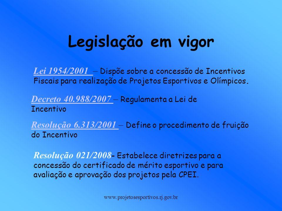 www.projetosesportivos.rj.gov.br Lei 1954/2001 Lei 1954/2001 – Dispõe sobre a concessão de Incentivos Fiscais para realização de Projetos Esportivos e