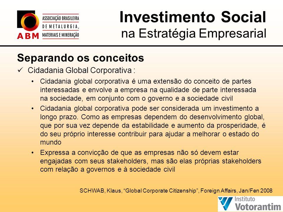 Separando os conceitos  Cidadania Global Corporativa : •Cidadania global corporativa é uma extensão do conceito de partes interessadas e envolve a empresa na qualidade de parte interessada na sociedade, em conjunto com o governo e a sociedade civil •Cidadania global corporativa pode ser considerada um investimento a longo prazo.