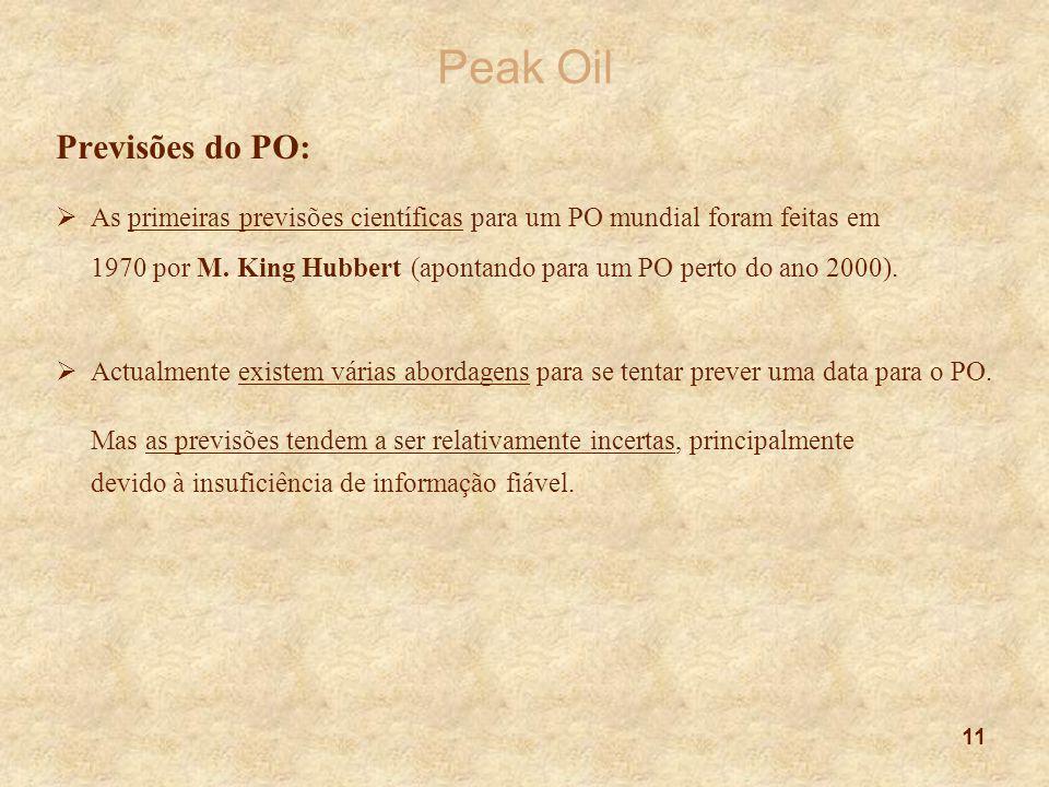 11 Peak Oil Previsões do PO:  As primeiras previsões científicas para um PO mundial foram feitas em 1970 por M. King Hubbert (apontando para um PO pe