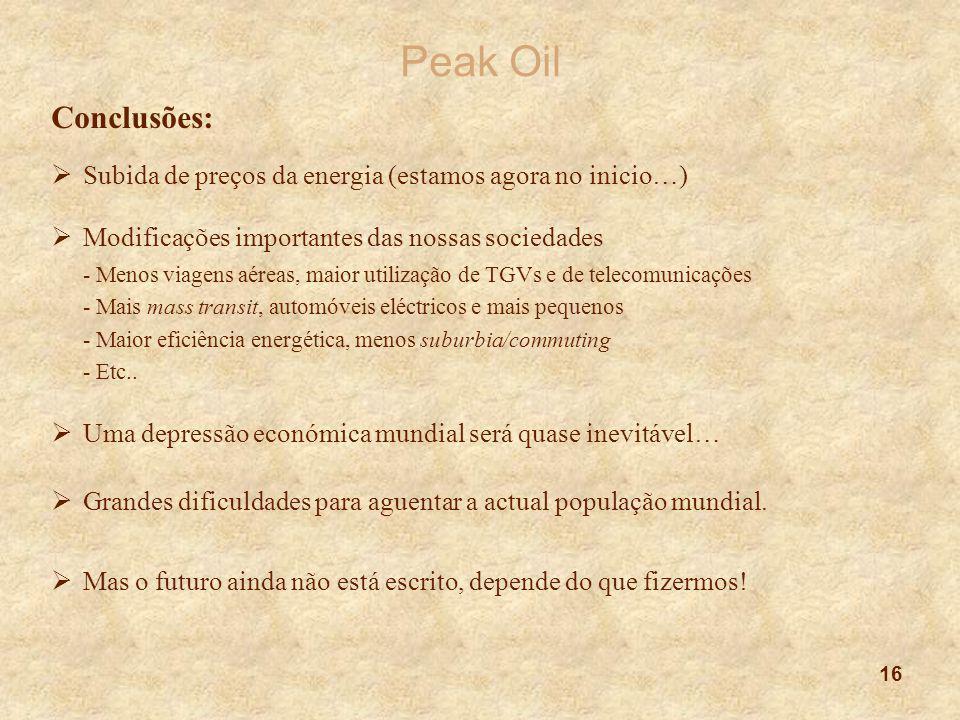 16 Peak Oil Conclusões:  Subida de preços da energia (estamos agora no inicio…)  Modificações importantes das nossas sociedades - Menos viagens aére