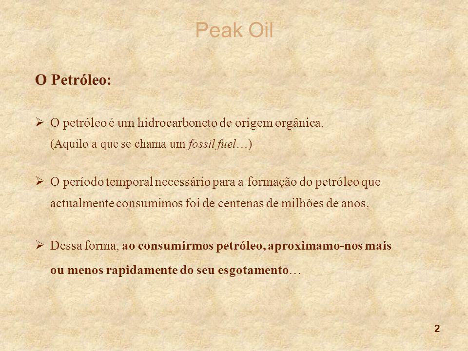 2 Peak Oil O Petróleo:  O petróleo é um hidrocarboneto de origem orgânica. (Aquilo a que se chama um fossil fuel…)  O período temporal necessário pa