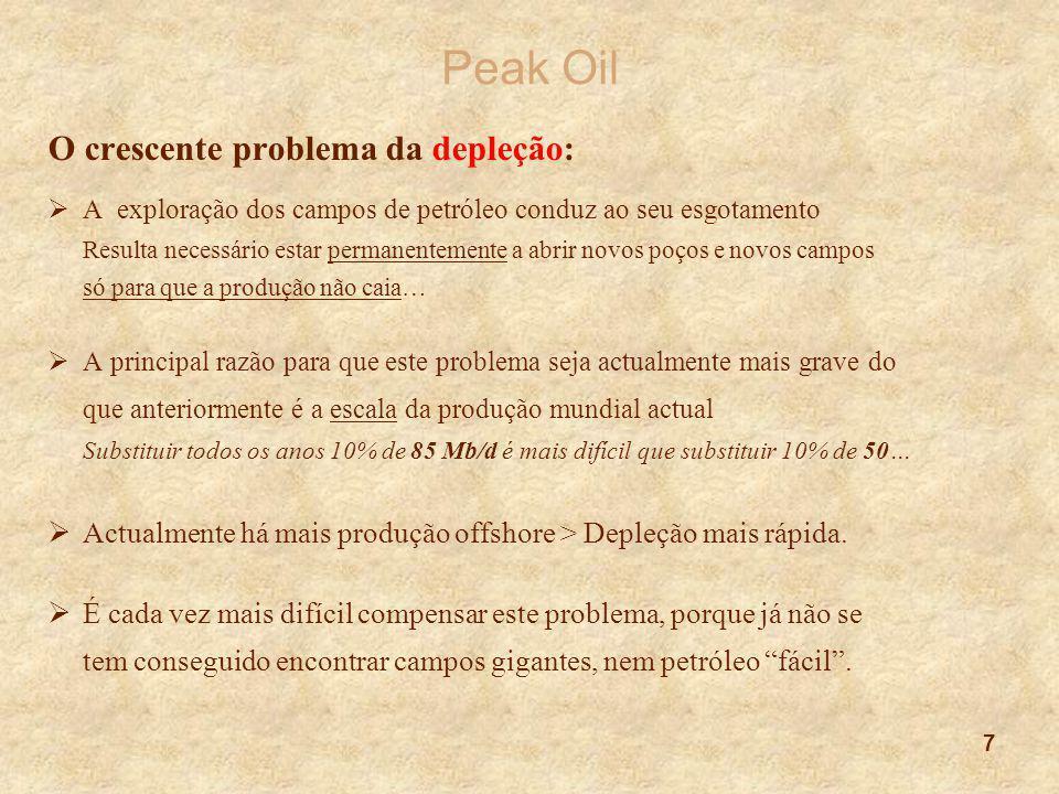 7 Peak Oil O crescente problema da depleção:  A exploração dos campos de petróleo conduz ao seu esgotamento Resulta necessário estar permanentemente
