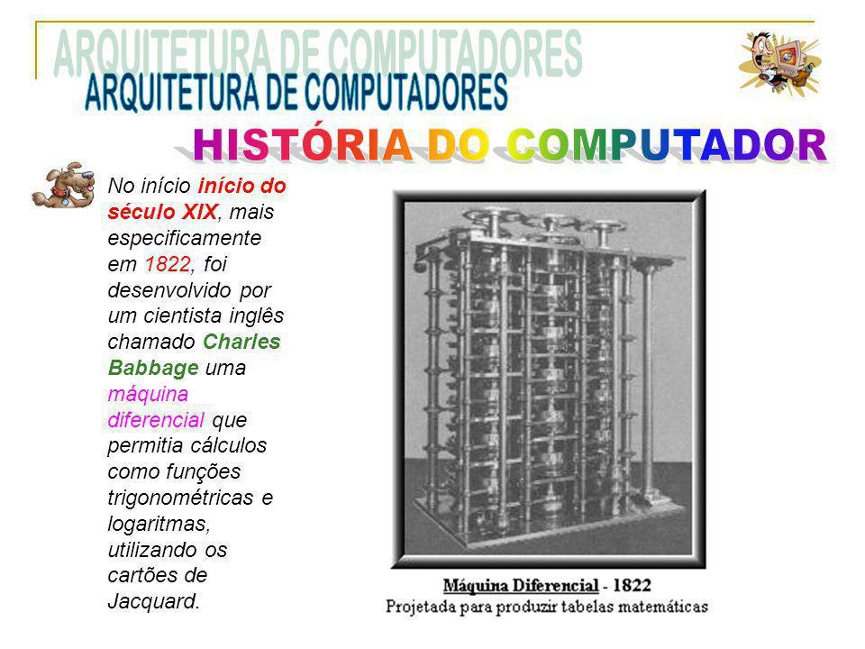 No início início do século XIX, mais especificamente em 1822, foi desenvolvido por um cientista inglês chamado Charles Babbage uma máquina diferencial