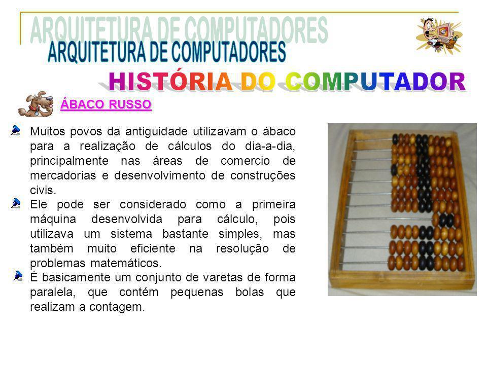 ÁBACO RUSSO Muitos povos da antiguidade utilizavam o ábaco para a realização de cálculos do dia-a-dia, principalmente nas áreas de comercio de mercado