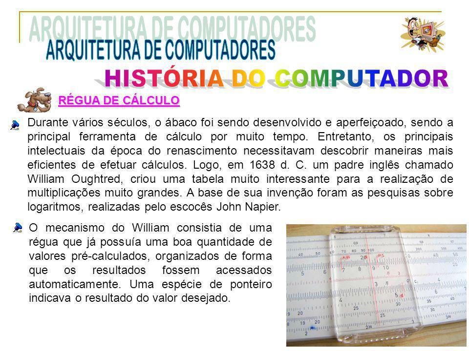RÉGUA DE CÁLCULO Durante vários séculos, o ábaco foi sendo desenvolvido e aperfeiçoado, sendo a principal ferramenta de cálculo por muito tempo. Entre