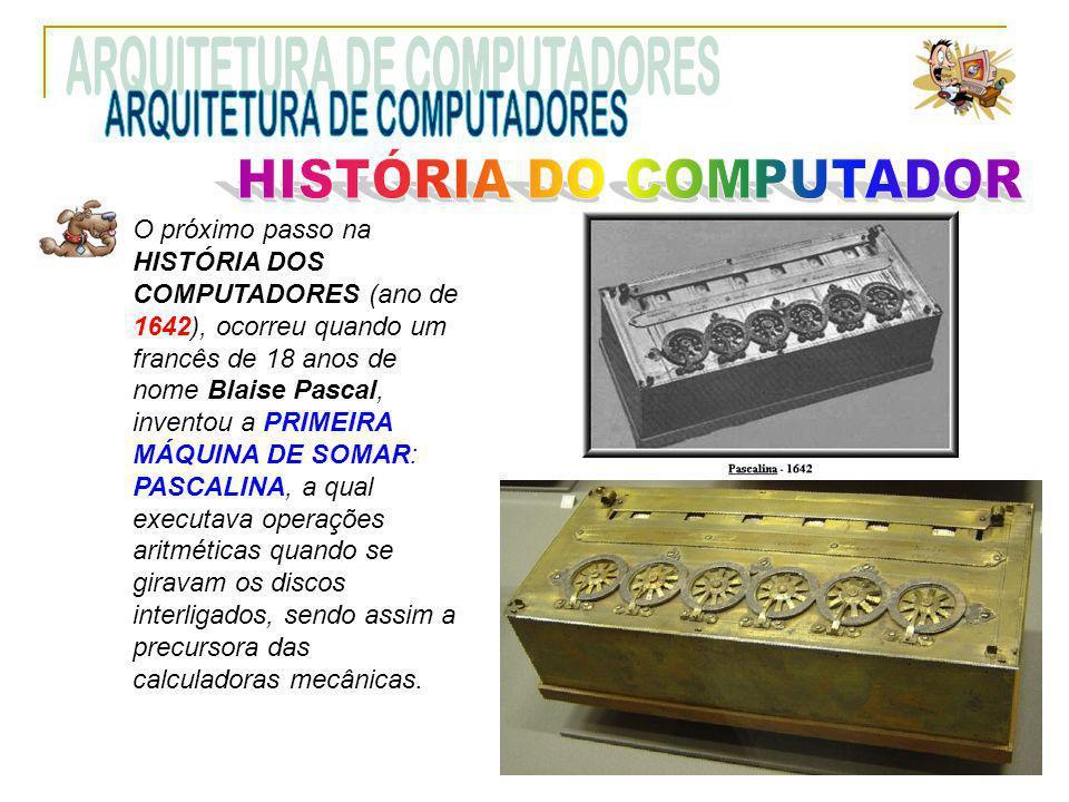 O próximo passo na HISTÓRIA DOS COMPUTADORES (ano de 1642), ocorreu quando um francês de 18 anos de nome Blaise Pascal, inventou a PRIMEIRA MÁQUINA DE