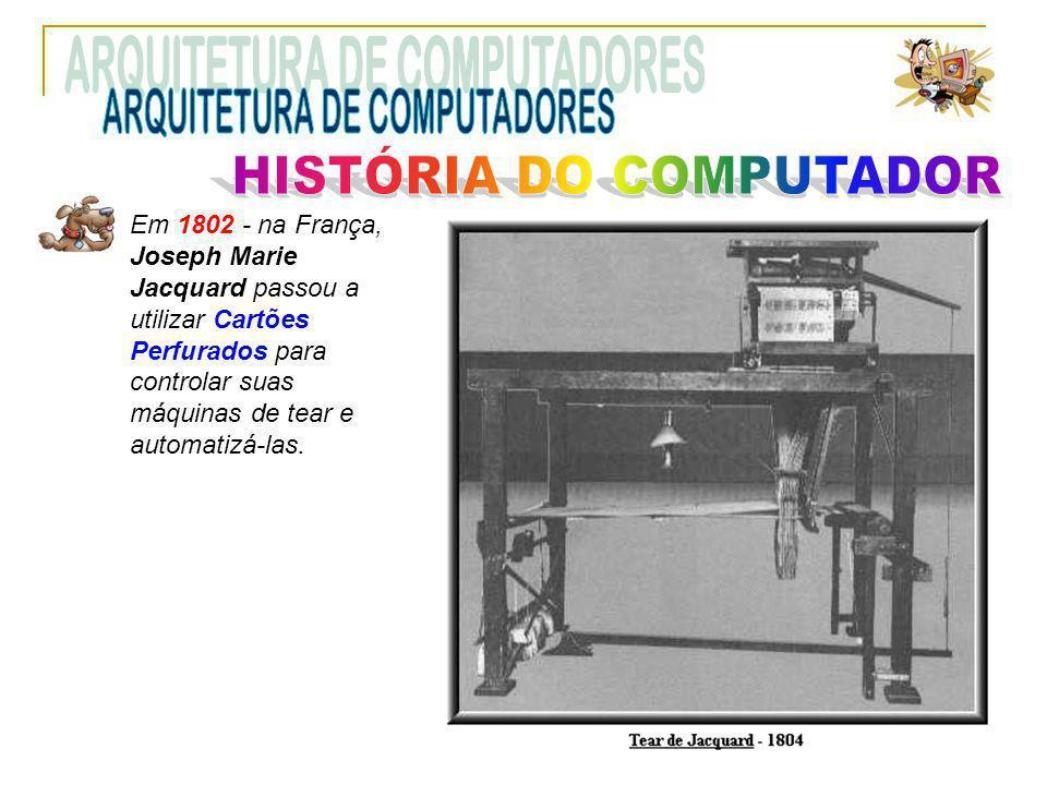Em 1802 - na França, Joseph Marie Jacquard passou a utilizar Cartões Perfurados para controlar suas máquinas de tear e automatizá-las.