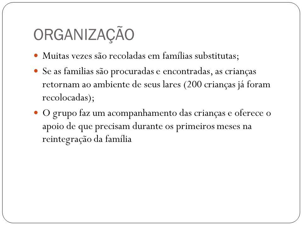 ORGANIZAÇÃO  Muitas vezes são recoladas em famílias substitutas;  Se as familias são procuradas e encontradas, as crianças retornam ao ambiente de s