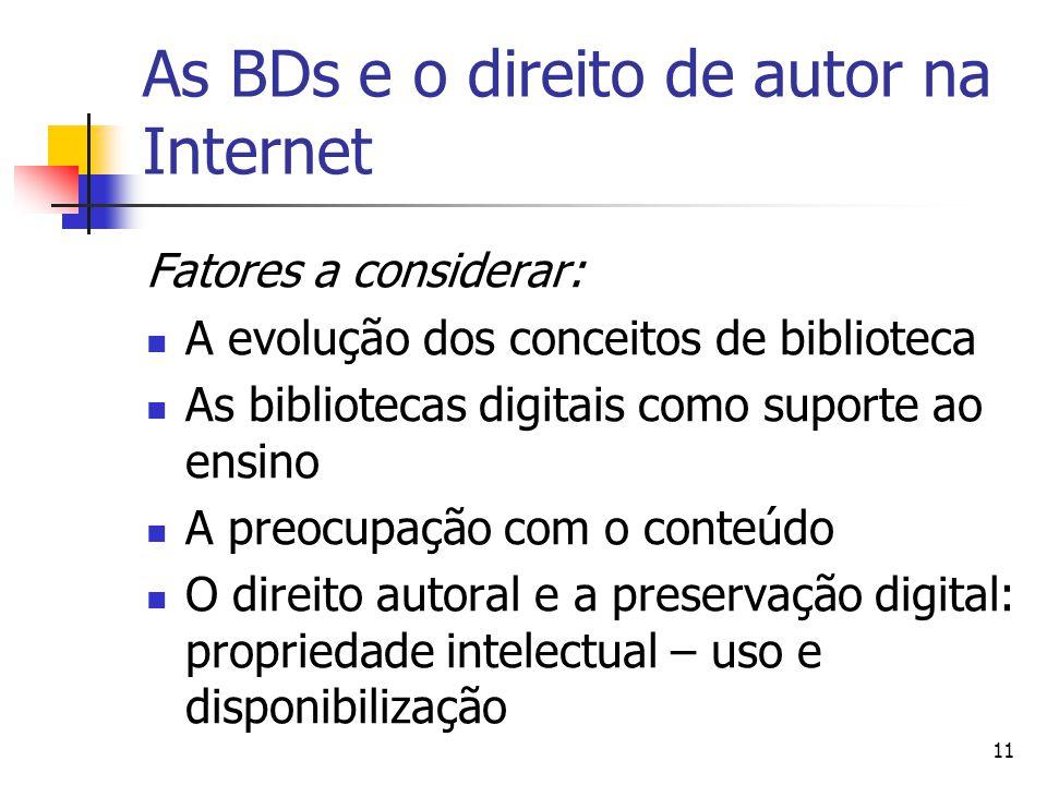 11 As BDs e o direito de autor na Internet Fatores a considerar:  A evolução dos conceitos de biblioteca  As bibliotecas digitais como suporte ao ensino  A preocupação com o conteúdo  O direito autoral e a preservação digital: propriedade intelectual – uso e disponibilização