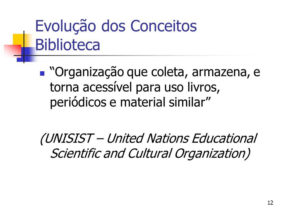 """12 Evolução dos Conceitos Biblioteca  """"Organização que coleta, armazena, e torna acessível para uso livros, periódicos e material similar"""" (UNISIST –"""
