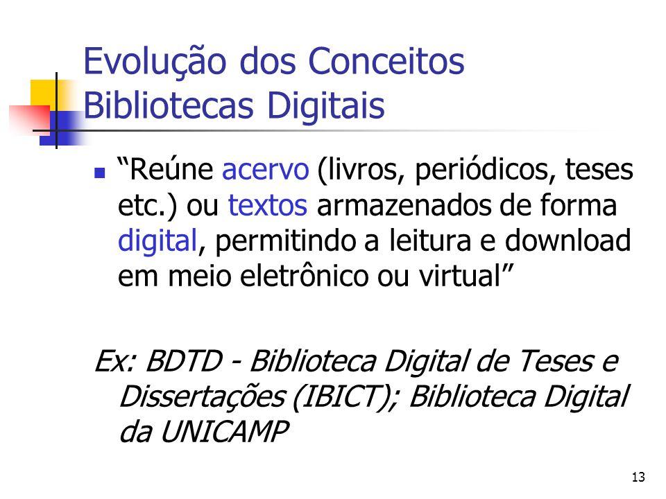 """13 Evolução dos Conceitos Bibliotecas Digitais  """"Reúne acervo (livros, periódicos, teses etc.) ou textos armazenados de forma digital, permitindo a l"""