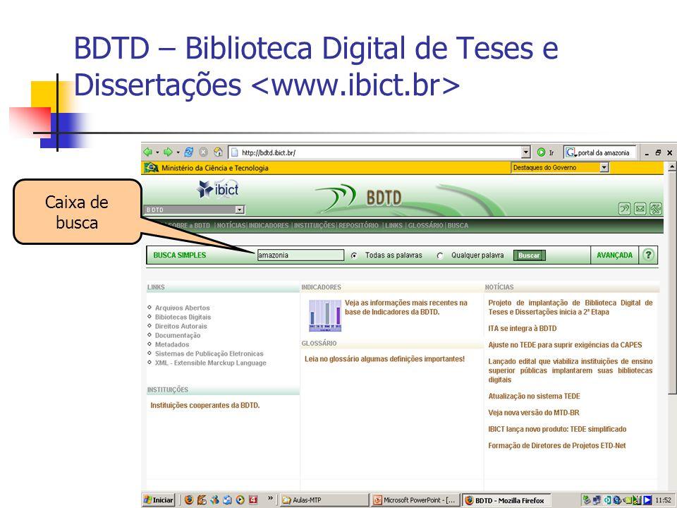 14 BDTD – Biblioteca Digital de Teses e Dissertações Caixa de busca
