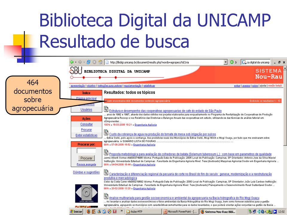 17 Biblioteca Digital da UNICAMP Resultado de busca 464 documentos sobre agropecuária