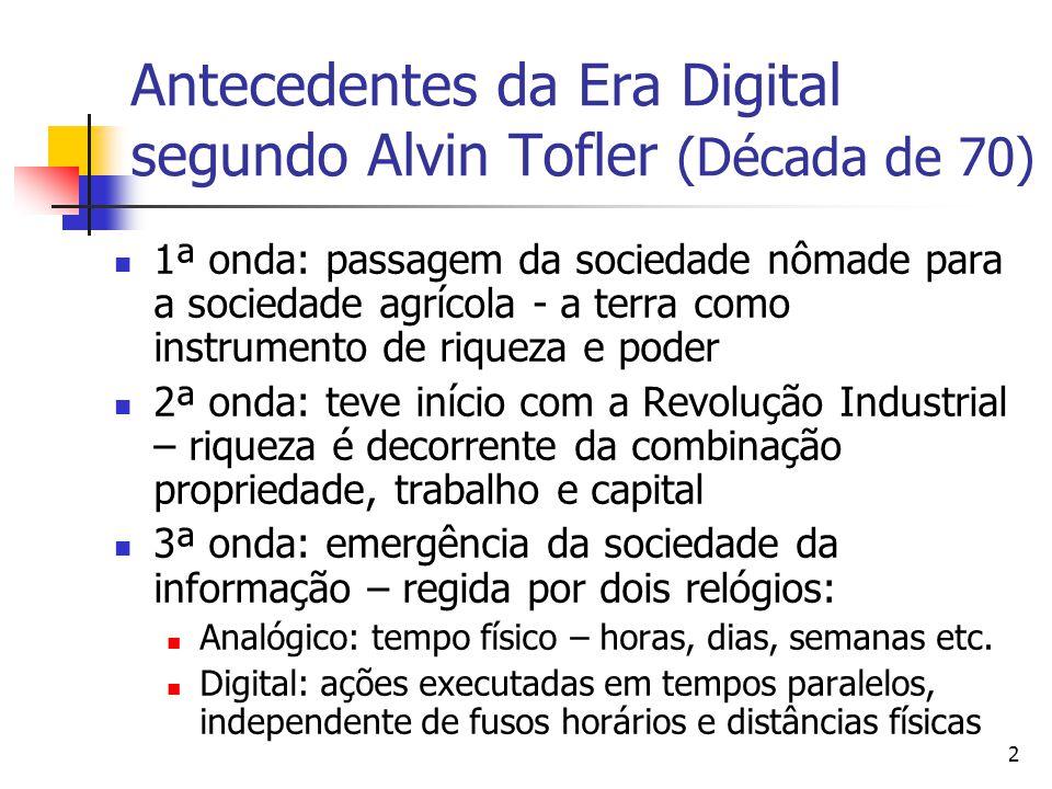 2 Antecedentes da Era Digital segundo Alvin Tofler (Década de 70)  1ª onda: passagem da sociedade nômade para a sociedade agrícola - a terra como ins