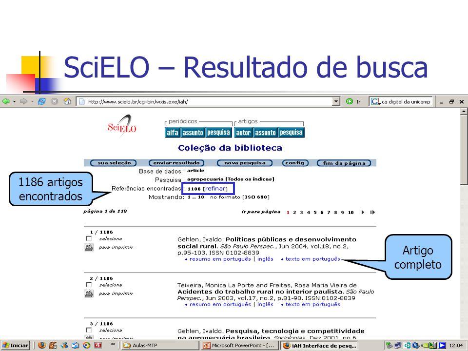 24 SciELO – Resultado de busca 1186 artigos encontrados Artigo completo