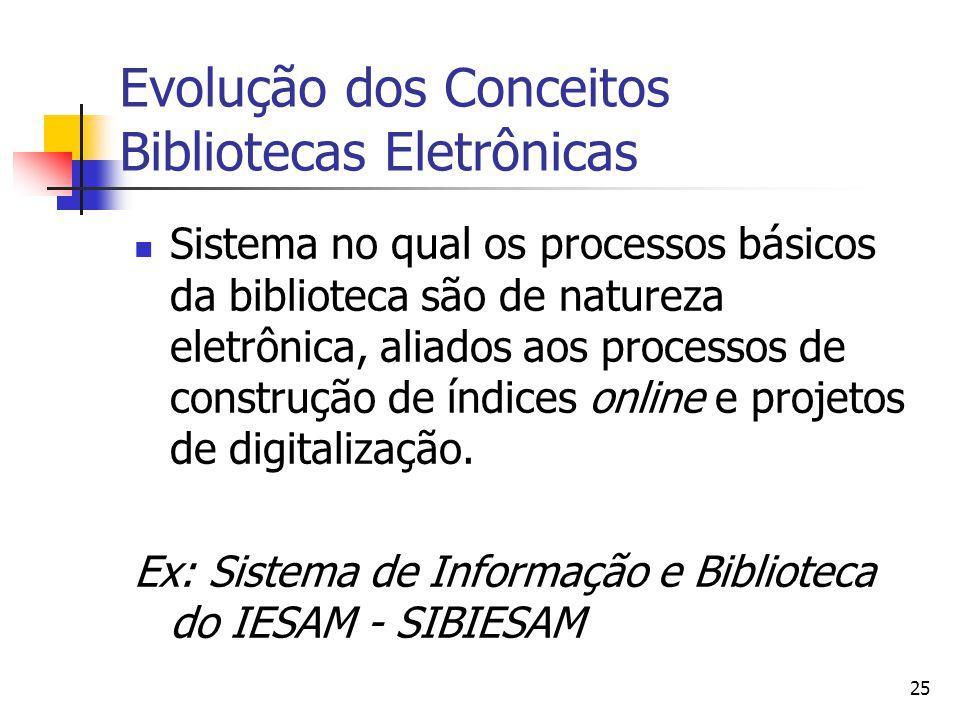 25 Evolução dos Conceitos Bibliotecas Eletrônicas  Sistema no qual os processos básicos da biblioteca são de natureza eletrônica, aliados aos processos de construção de índices online e projetos de digitalização.
