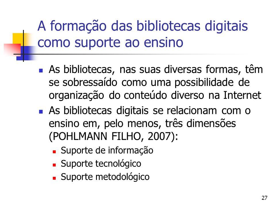 27 A formação das bibliotecas digitais como suporte ao ensino  As bibliotecas, nas suas diversas formas, têm se sobressaído como uma possibilidade de