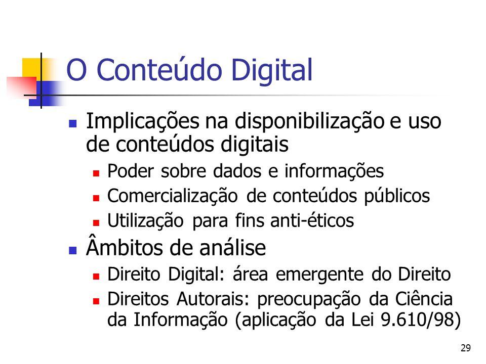 29 O Conteúdo Digital  Implicações na disponibilização e uso de conteúdos digitais  Poder sobre dados e informações  Comercialização de conteúdos públicos  Utilização para fins anti-éticos  Âmbitos de análise  Direito Digital: área emergente do Direito  Direitos Autorais: preocupação da Ciência da Informação (aplicação da Lei 9.610/98)