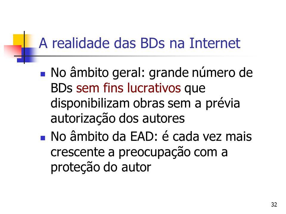 32 A realidade das BDs na Internet  No âmbito geral: grande número de BDs sem fins lucrativos que disponibilizam obras sem a prévia autorização dos a