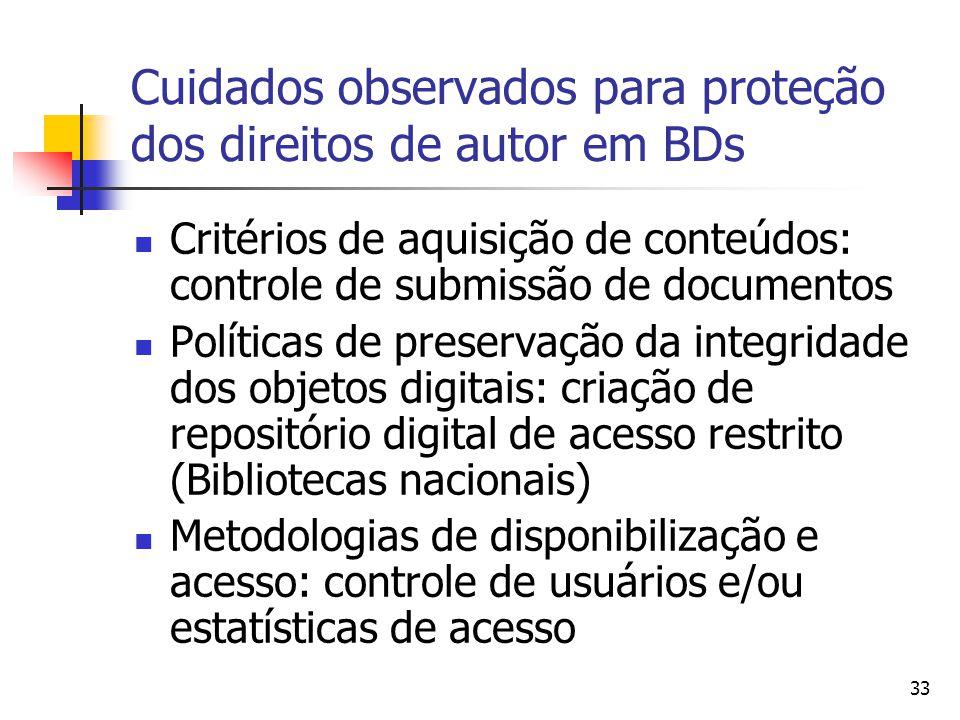 33 Cuidados observados para proteção dos direitos de autor em BDs  Critérios de aquisição de conteúdos: controle de submissão de documentos  Polític